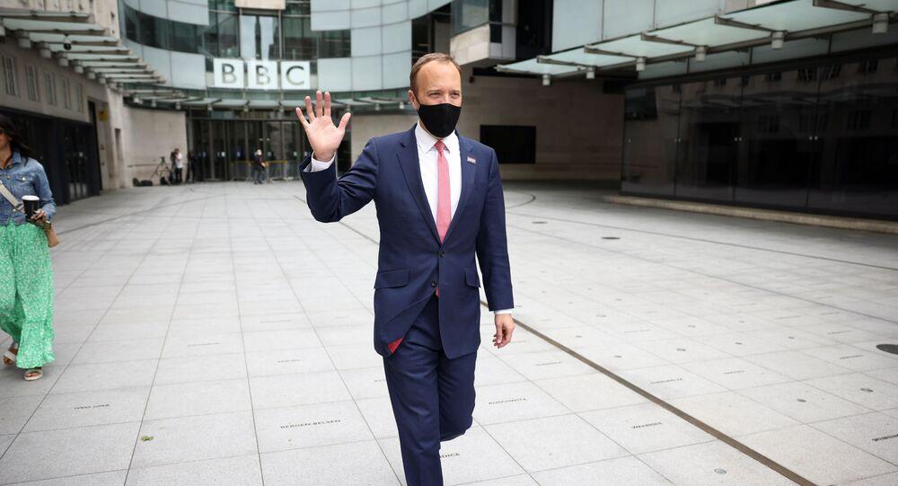 Britain's Health Secretary Matt Hancock is seen outside the BBC Headquarters in London, Britain, June 6, 2021.