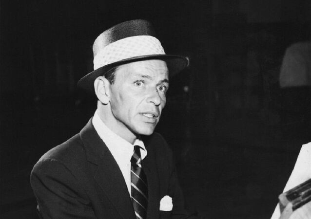 Photo of Frank Sinatra in the role of the Stage Manager for a television production of ''Our Town'' in 1955, which was presented on ''Producers' Showcase''.