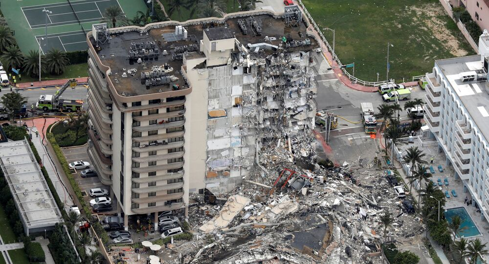 An aerial view showing a partially collapsed building in Surfside near Miami Beach, Florida, U.S., June 24, 2021.