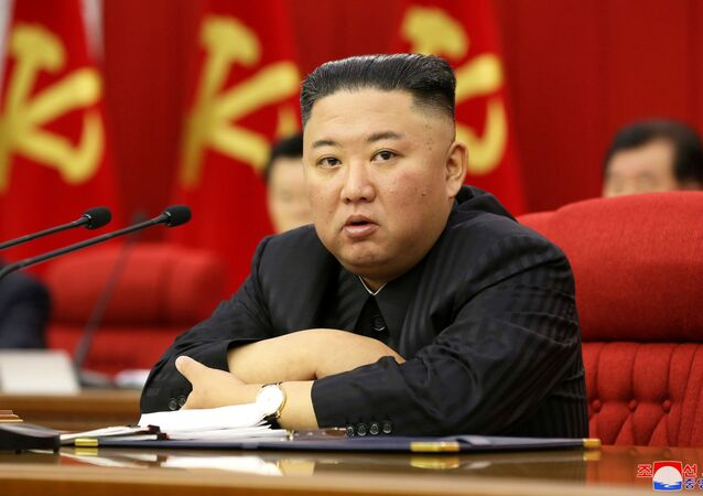 North Korean leader Kim Jong Un speaks at a meeting of the Workers' Party of Korea in Pyongyang, North Korea in this image released 18 June 2021 by the country's Korean Central News Agency.