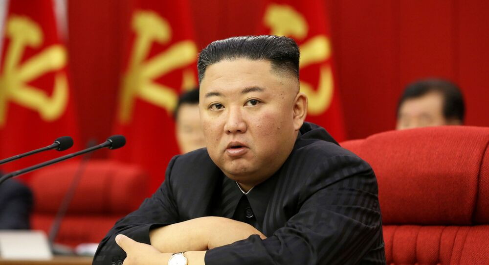 North Korean leader Kim Jong Un speaks at a meeting of the Workers' Party of Korea in Pyongyang, North Korea in this image released June 18, 2021 by the country's Korean Central News Agency.