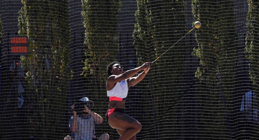 Gwendolyn Berry aka Gwen Berry places third in the women's hammer with a throw of 241-2 (73.50m) during the US Olympic Team Trials at Hayward Field.