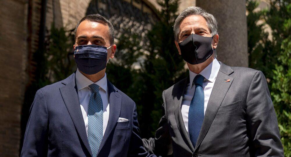 U.S. Secretary of State Antony Blinken meets with Italy's Foreign Minister Luigi Di Maio, left, at Villa Taverna, the U.S. Ambassador's Residence, during Blinken's week-long Europe trip, in Rome, Italy June 27, 2021.
