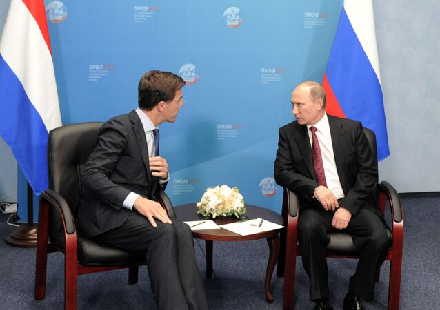June 20, 2013. Russian President Vladimir Putin, right, and Prime Minister of the Netherlands Mark Rutte at a meeting at the 17th St. Petersburg International Economic Forum at Lenexpo