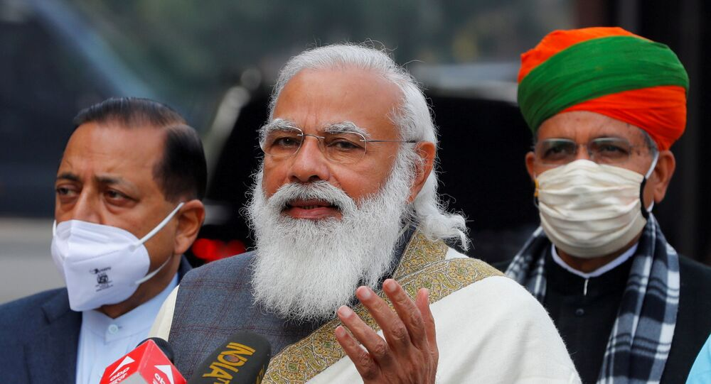 FILE PHOTO: India's Prime Minister Narendra Modi arrives at the houses of parliament for the first day of the budget session, in New Delhi on 29 January 2021.