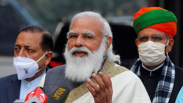 FILE PHOTO: India's Prime Minister Narendra Modi arrives at the houses of parliament for the first day of the budget session, in New Delhi on 29 January 2021. - Sputnik International