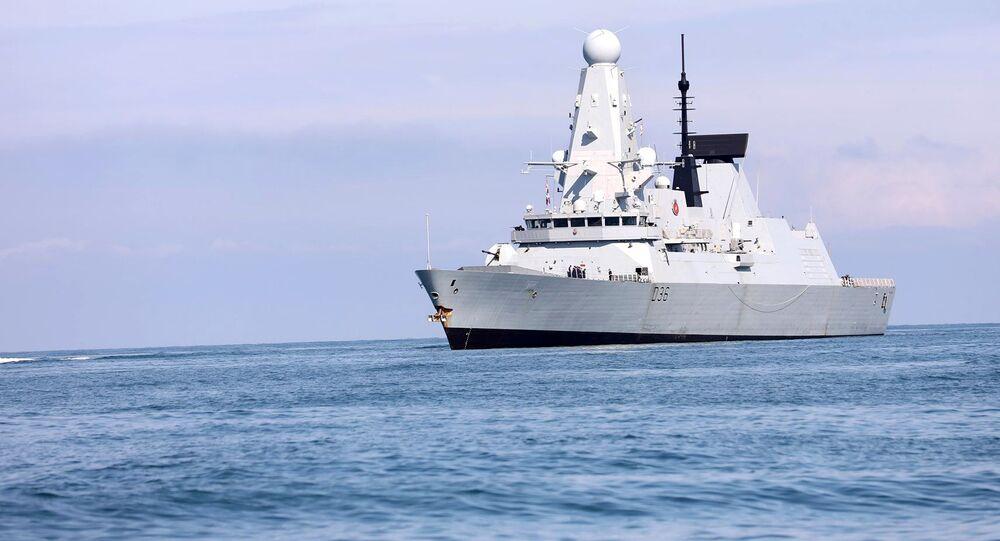 The British Royal Navy warship HMS Defender approaches the Black Sea port of Batumi, Georgia, June 26, 2021
