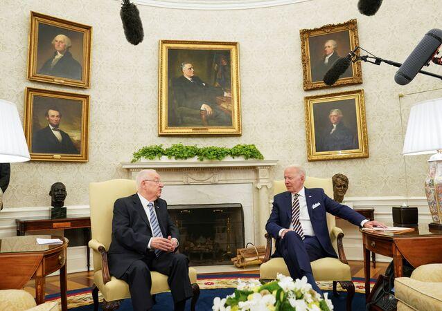 U.S. President Joe Biden meets with Israel's President Reuven Rivlin at the White House in Washington, U.S. June 28, 2021