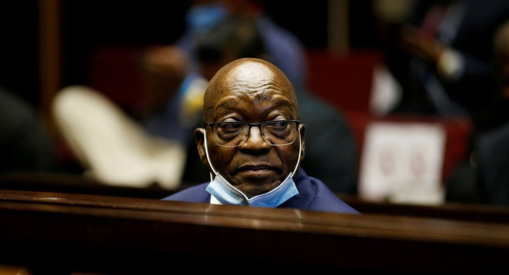 Former South African President Jacob Zuma sits in the dock after recess in his corruption trial in Pietermaritzburg, South Africa, May 26, 2021