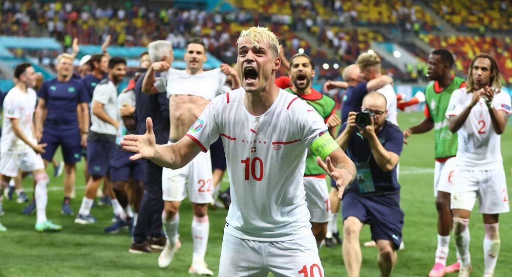 Soccer Football - Euro 2020 - Round of 16 - France v Switzerland - National Arena Bucharest, Bucharest, Romania - June 29, 2021   Switzerland's Granit Xhaka celebrates after the match