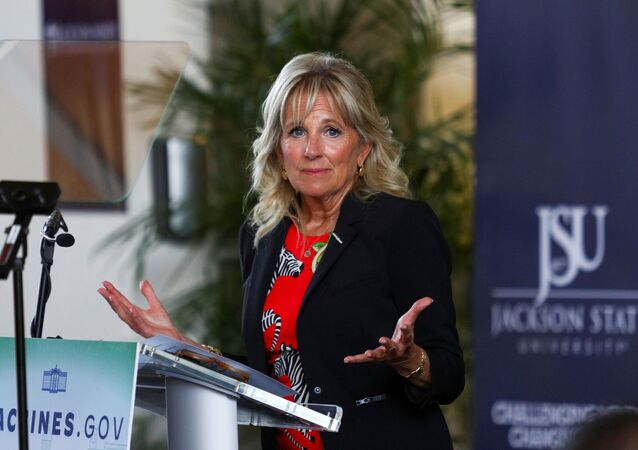 U.S. first lady Jill Biden delivers remarks following a tour of the coronavirus disease (COVID-19) vaccination clinic at Jackson State University in Jackson, Mississippi, U.S., June 22, 2021