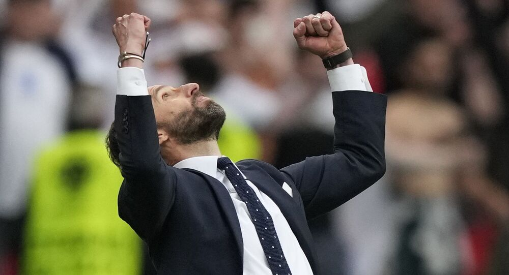 Soccer Football - Euro 2020 - Round of 16 - England v Germany - Wembley Stadium, London, Britain - June 29, 2021  England's Gareth Southgate celebrates at the end of the match