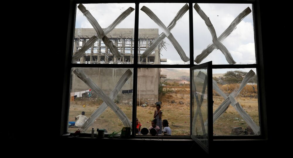 Displaced people are seen at the Shire campus of Aksum University, which was turned into a temporary shelter for people displaced by conflict, in the town of Shire, Tigray region, Ethiopia, March 15, 2021