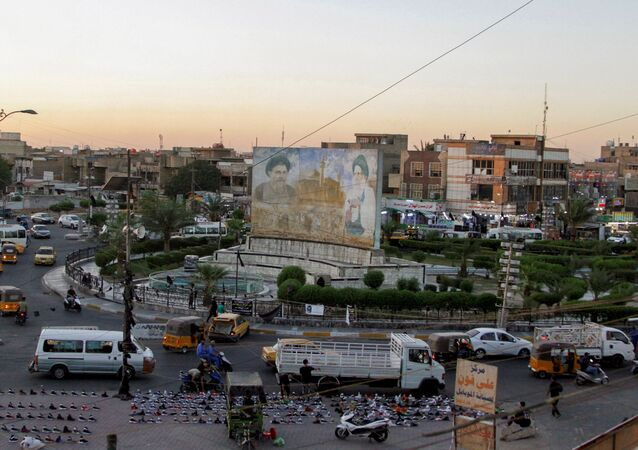 A general view of Sadrain Square, in the Sadr City district of Baghdad, Iraq June 20, 2021. Picture taken  June 20, 2021.