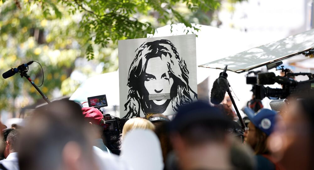 People protest in support of pop star Britney Spears on the day of a conservatorship case hearing at Stanley Mosk Courthouse in Los Angeles, California, U.S. June 23, 2021