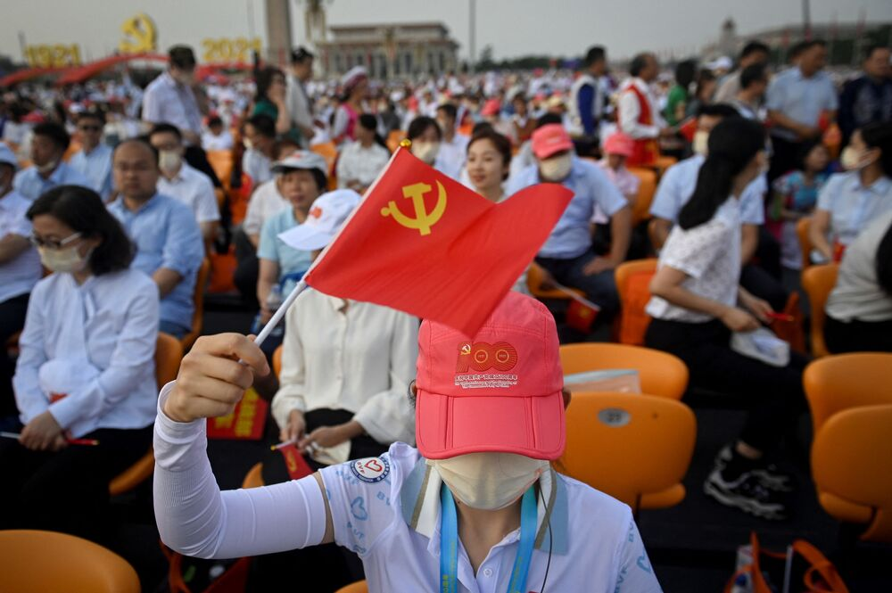 The emblem of the Communist Party of China is a stylised version of hammer and sickle.