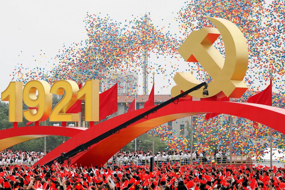 People are sending thousands of balloons into the sky to mark a century since the communist party was founded.