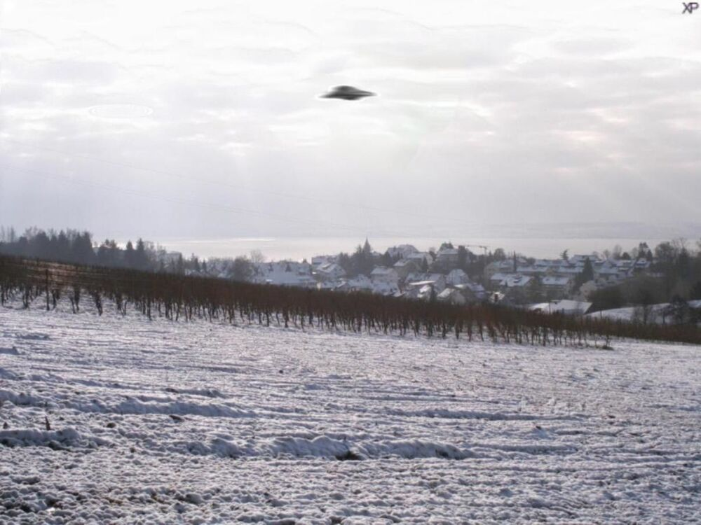 A fake picture of an alleged UFO above Meersburg, Germany.