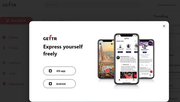Screenshot from the Gettr social media platform website - Sputnik International
