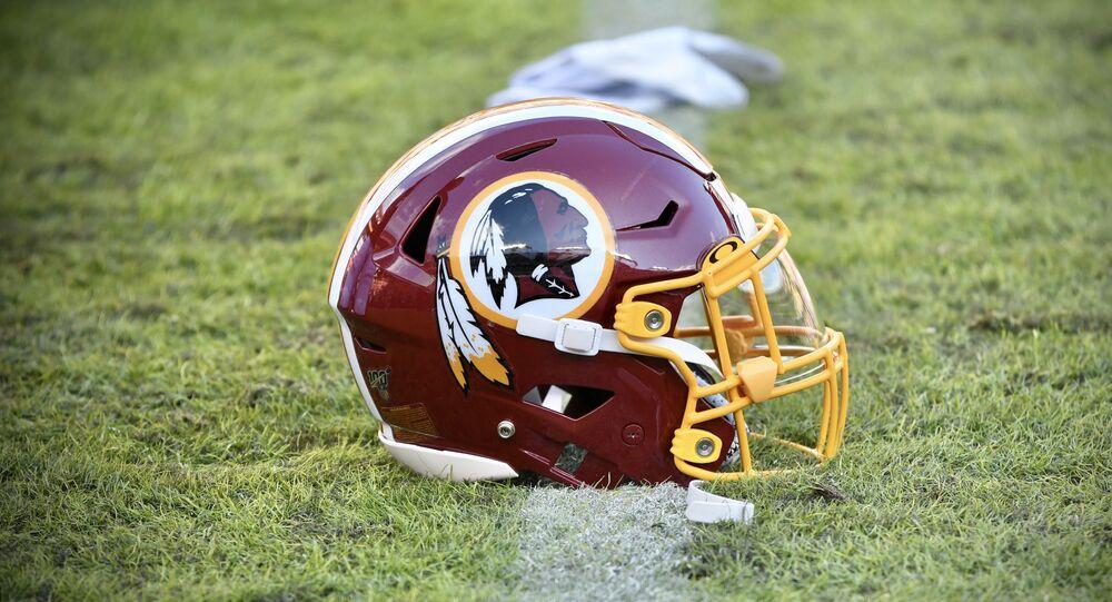 A Washington Redskins helmet (2019), prior to the renaming of the DC football team.