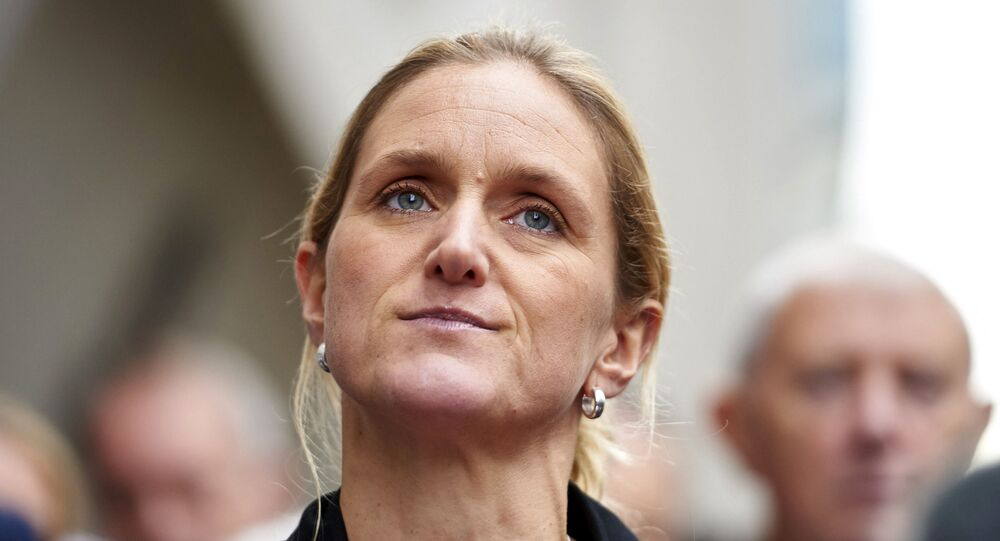 Sister of murdered Labour MP Jo Cox, Kim Leadbeater, delivers a statement outside the Old Bailey criminal court in London on November 23, 2016, following the conviction of Jo's killer Thomas Mair.