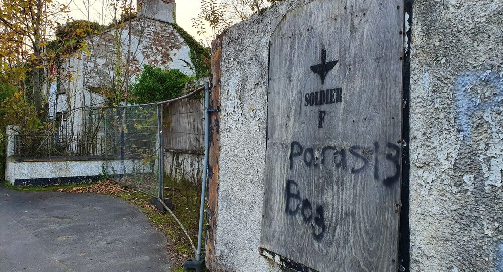 Graffiti supporting Soldier F on the side of a derelict building in Northern Ireland
