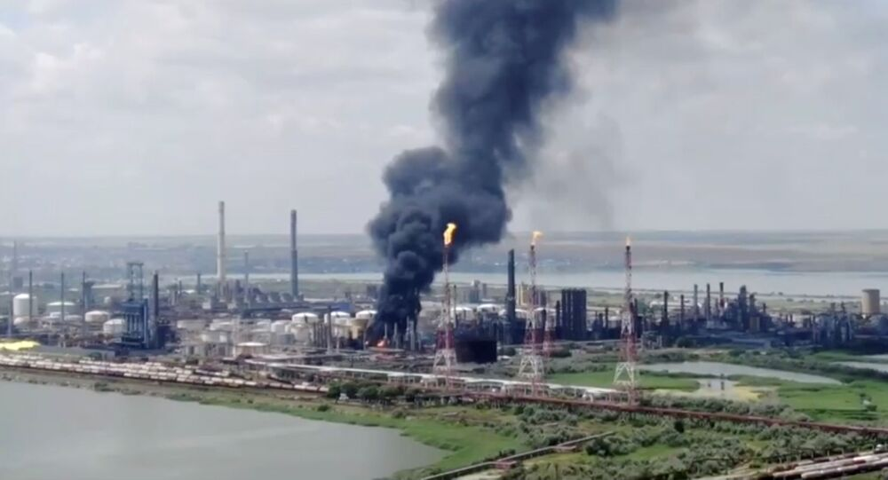 Drone footage from NGO Agent Green shows the fire at Petromidia oil refinery after a blast in Navodari, Romania July 2, 2021
