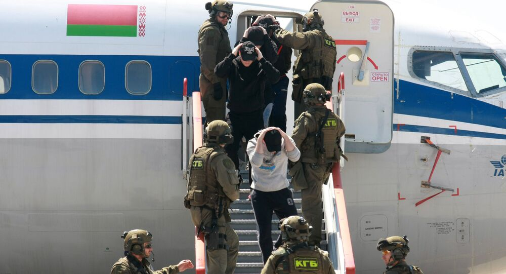 Belarusian KGB security services carry out a training exercise in Minsk, file photo.