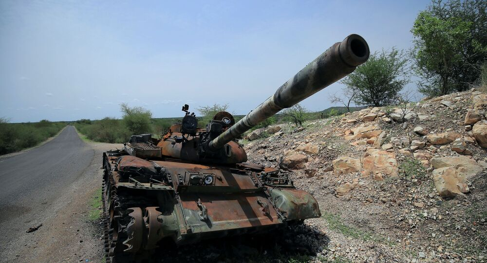 A tank damaged during the fighting between Ethiopia?s National Defense Force (ENDF) and Tigray Special Force stands on the outskirts of Humera town in Ethiopia July 1, 2021 Picture taken July 1, 2021