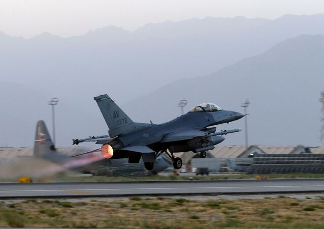 A U.S. Air Force F-16 Fighting Falcon aircraft takes off for a nighttime mission at Bagram Airfield, Afghanistan, August 22, 2017. Picture taken August 22, 2017.