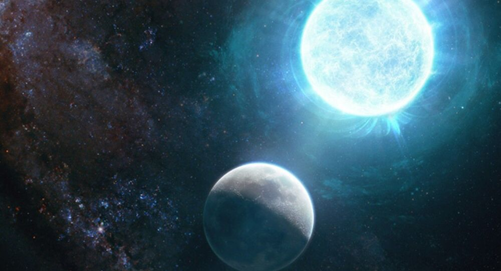 An artist's depiction captures a newfound small white dwarf, right, in comparison to the  Earth's moon.
