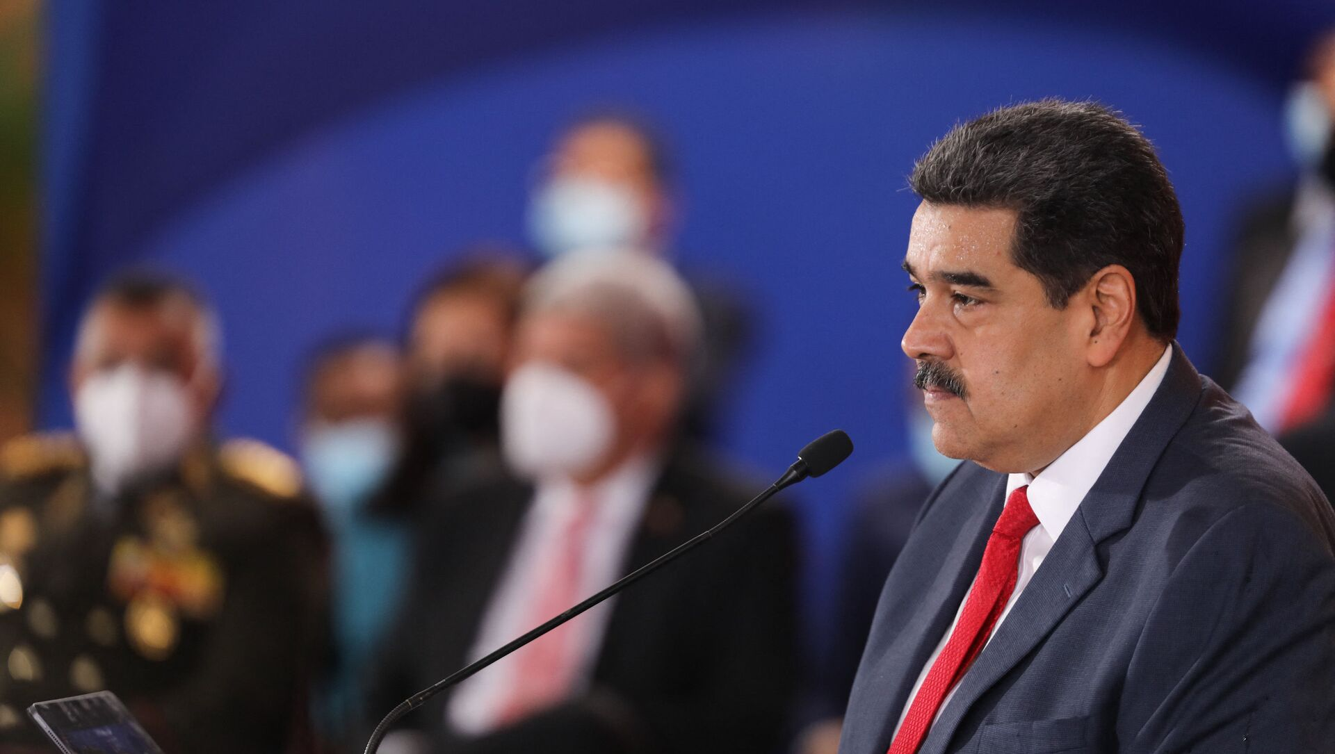 Handout picture released by the Venezuelan presidency showing Venezuelan President Nicolas Maduro, speaking during the Bolivarian Alliance for the Peoples of America (ALBA) Summit at the Miraflores presidential palace in Caracas, on June 24, 2021. - Sputnik International, 1920, 03.07.2021