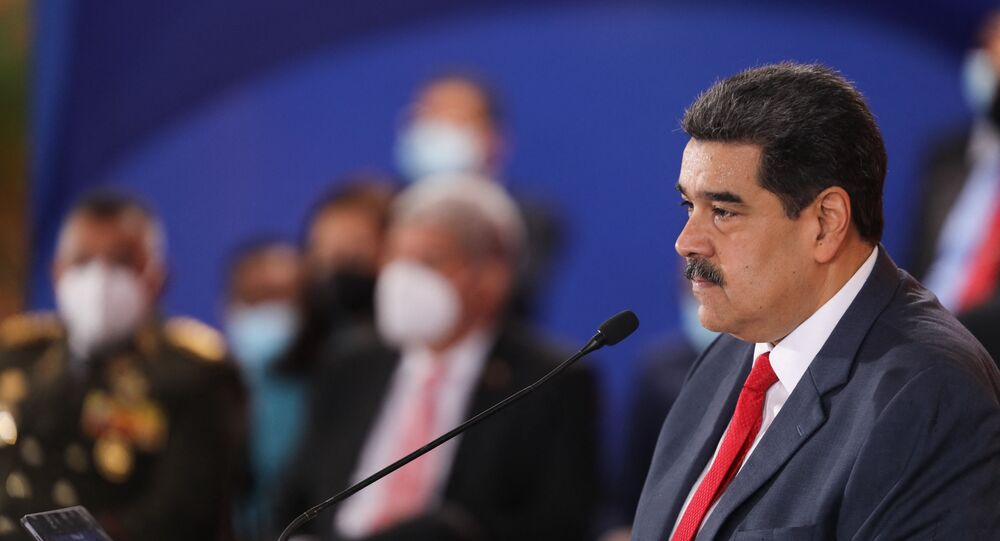 Handout picture released by the Venezuelan presidency showing Venezuelan President Nicolas Maduro, speaking during the Bolivarian Alliance for the Peoples of America (ALBA) Summit at the Miraflores presidential palace in Caracas, on June 24, 2021.
