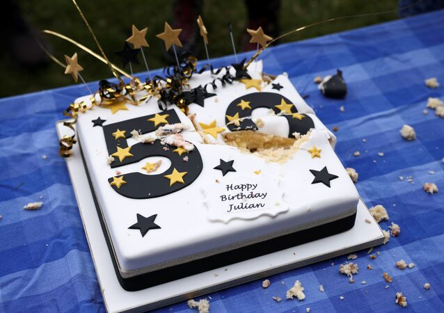 A cake is pictured during a picnic protest marking Wikileaks founder Julian Assange's 50th Birthday
