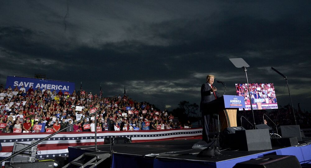 Former President Donald Trump speaks during a rally at the Sarasota Fairgrounds Saturday, July 3, 2021, in Sarasota, Fla.