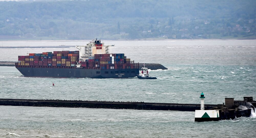Liberia CSAV Tyndall ship enters Le Havre harbour, northern France, on May 9, 2019
