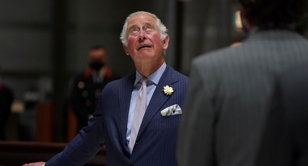 Britain's Prince Charles looks up during  his visit to the Lloyd's of London, an insurance and reinsurance marketplace, in London, Britain June 24, 2021