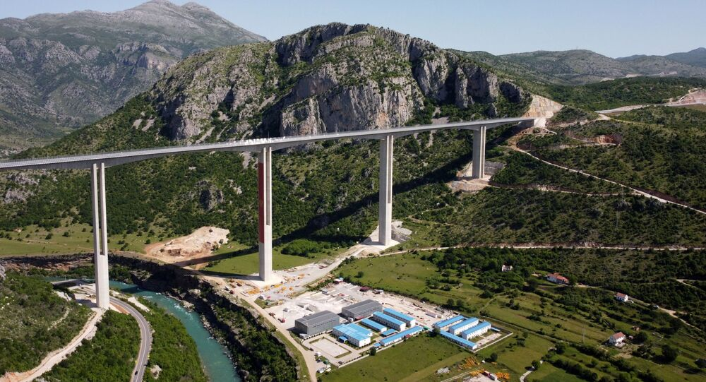 Drone picture shows Moracica bridge on the first leg of a new highway in Montenegro, linking the port of Bar with the border of Serbia, built with a large Chinese loan that has sent Montenegro's debt soaring, Picture taken May 25, 2021.