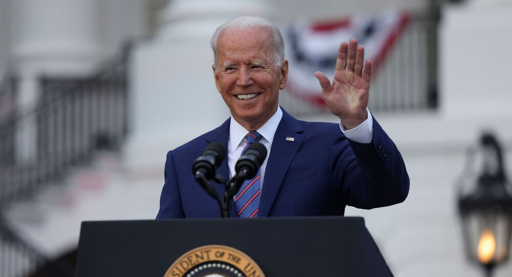 U.S. President Joe Biden salutes as he delivers remarks at the White House at a celebration of Independence Day in Washington, U.S., July 4, 2021.