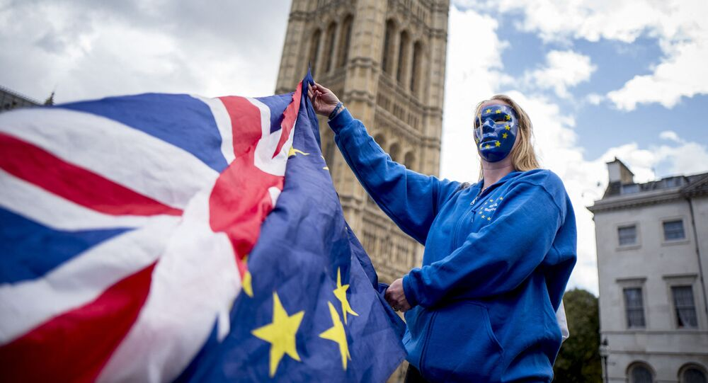 A Pro-European Union protester holds Union and European flags in front of the Victoria Tower at The Palace of Westminster in central London on September 13, 2017, ahead of a rally to warn about the terms of Brexit, by EU nationals in Britain and UK nationals in Europe