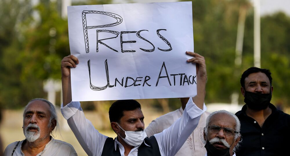 Pakistani journalists and members of civil society take part in a demonstration called by journalists union to condemn the attack on journalists, in Islamabad, Pakistan, Friday, May 28, 2021