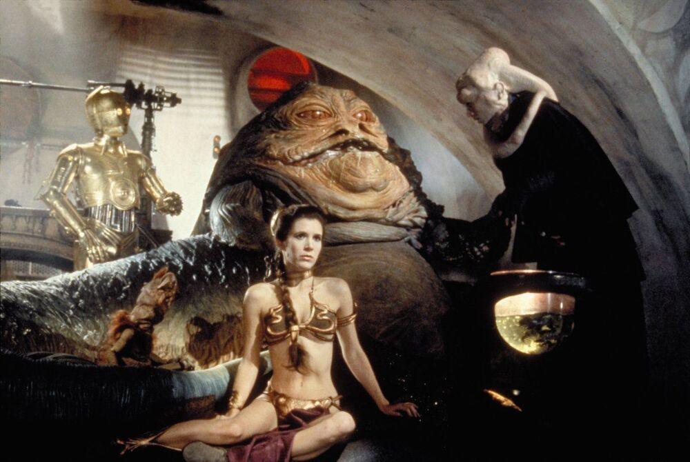 An iconic Princess Leia scene from Star Wars: Return of the Jedi, 1983.