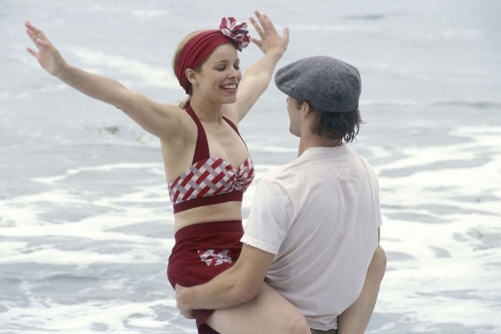 Beach scene from The Notebook, 2004, featuring Rachel McAdams.