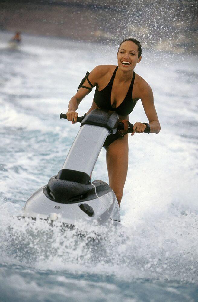 Bikini-clad Angelina Jolie in Lara Croft Tomb Raider: The Cradle of Life, 2003.