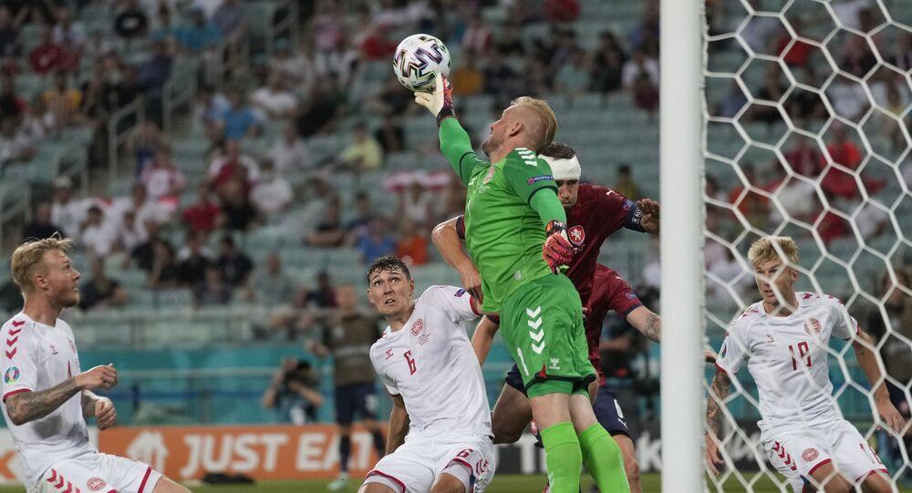 Kasper Schmeichel in action for Denmark against the Czech Republic
