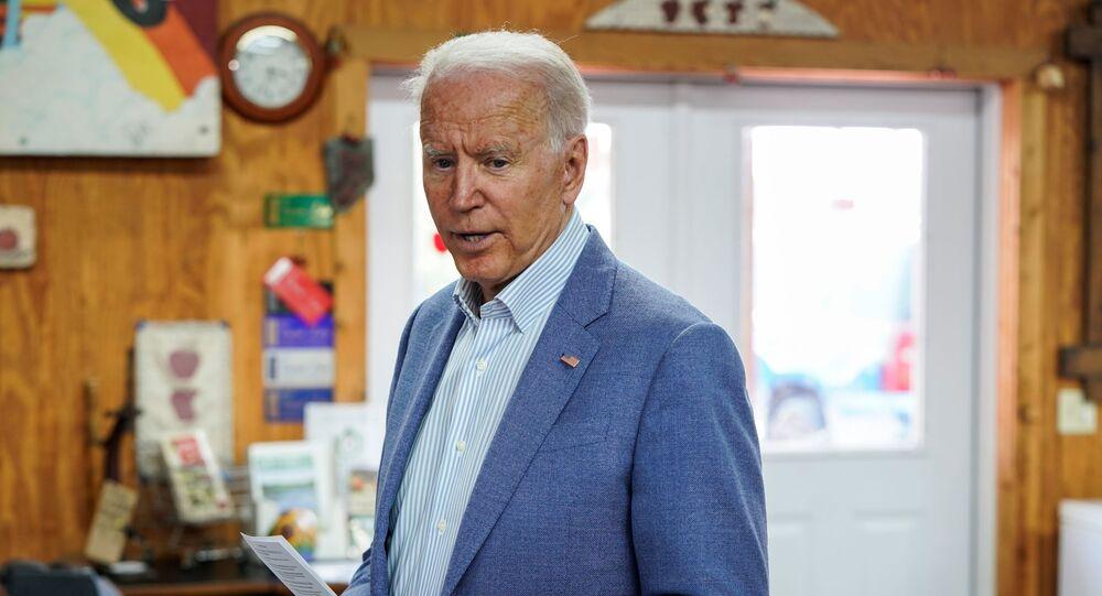 U.S. President Joe Biden speaks to the media at King Orchards in Central Lake, Michigan, U.S., July 3, 2021.
