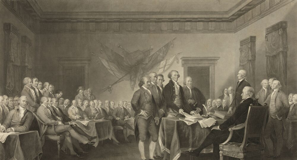 This image shows an 1876 engraving titled Declaration of Independence, July 4th, 1776 made available by the Library of Congress. On that day, the Continental Congress formally endorsed the Declaration of Independence.
