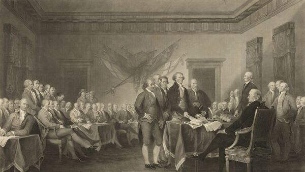 This image shows an 1876 engraving titled Declaration of Independence, July 4th, 1776 made available by the Library of Congress. On that day, the Continental Congress formally endorsed the Declaration of Independence. - Sputnik International