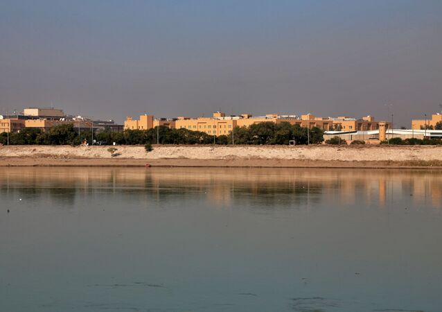 In this Jan. 3, 2020 file photo, the U.S. Embassy is seen from across the Tigris River in Baghdad, Iraq.