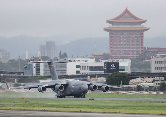 A U.S. military aircraft carrying a group of U.S. senators arrives at the Songshan Airport in Taipei, Taiwan on Sunday, June 6, 2021